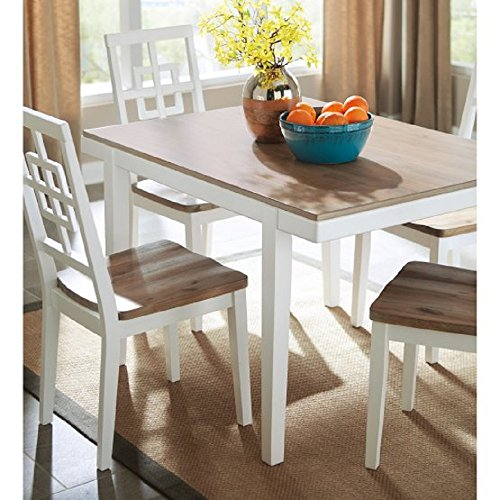 5 Piece Dining Set, Farmhouse Style 2 Toned Rectangular Table & 4 Lattice Back Chairs, Solid Wood and Engineered Wood Construction, Kitchen & Dining Room, Seats up to 4 People + Free Ebook