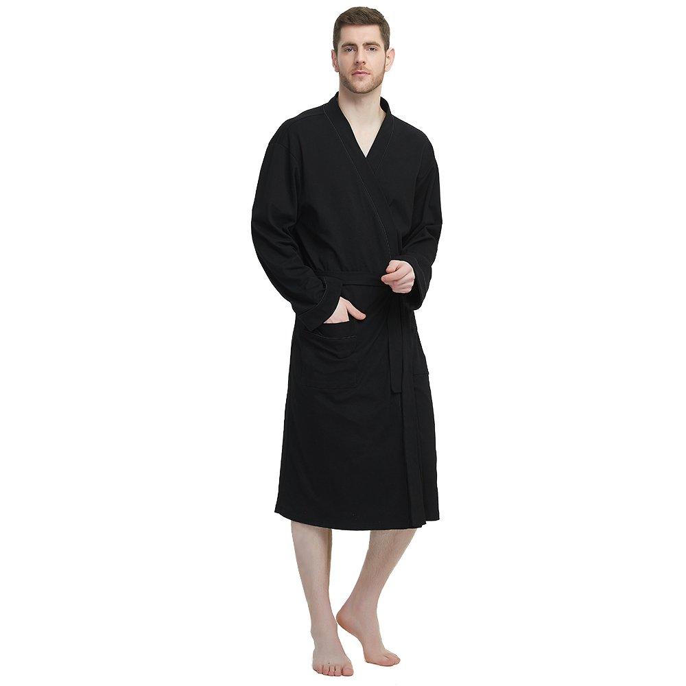 M&M Mymoon Men's Kimono Robe Long Comfy Bathrobe Cotton Loungewear Spa Cloth Robe (Black, S/M)
