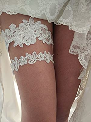 YHDDYG Sequins vintage wedding garter betls set with pearls S05 (Ivory)
