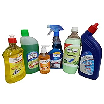 SparKlean Cleaning Combo (Hand Wash Gel 250ml, Toilet Cleaner 500ml, Floor  Cleaner 500ml, Dish Wash 500ml, Phenyl 1L, Glass Cleaner 500ml)