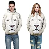 Liraly Unisex Couples Lovers White 3D Lion Print Loose Hoodies Blouse Tops Shirt (M)