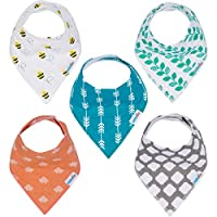 Baby Bandana Drool Bibs with Snaps Organic Cotton 5-Pack Unisex Baby Gift Set by KiddieBest