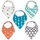 Baby Bandana Drool Bibs Organic Cotton 5-Pack Unisex Baby Gift Set by KiddieBest
