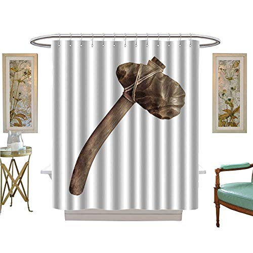 luvoluxhome Shower Curtains 3D Digital Printing Ancient Stone Axe Isolated on White Bathroom Decor Sets with Hooks W72 x L84