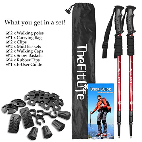 TheFitLife Nordic Walking Trekking Poles – 2 Packs with Antishock and Quick Lock System, Telescopic, Collapsible, Ultralight for Hiking, Camping, Mountaining, Backpacking, Walking, Trekking (Red)