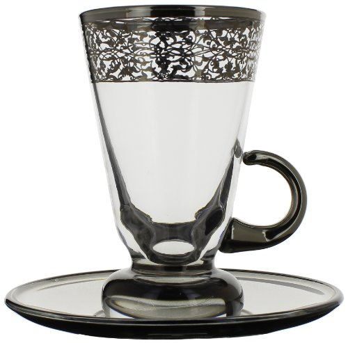 A Casa K Crystal Italian Platinum Hand Decorated Moroccan Shot/Tea Glass, 2.5-Ounce, Set of 4 by A Casa K Crystal