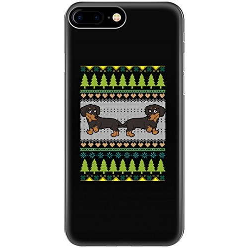 Ugly Christmas Sweater Design With Dachshunds And Trees - Phone Case Fits Iphone 6, 6s, 7, - Tree Christmas Groovy
