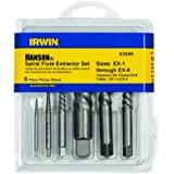 Irwin Tools 53545 Spiral Flute Screw Extractors, 6 Piece Set