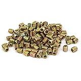 uxcell Wood Furniture M6 x 12mm Insert Fixing Screw E-Nut Bronze Tone 200pcs