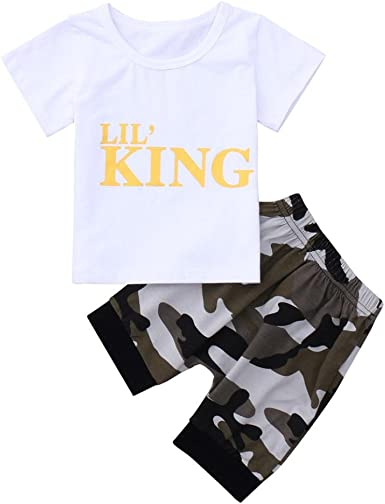 Shorts Set Casual Outfit Kehen Kid Toddler Boy Girl Summer Clothes 2pcs Outfit Camo Hooded Short Sleeve T Shirt Tops