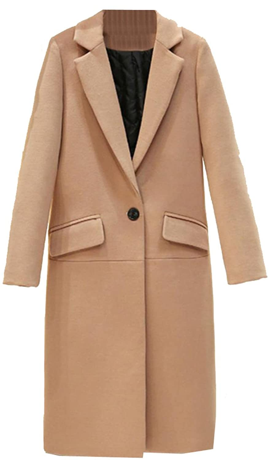 NQ Women's Elegant Long Sleeve Slim Fit Wool Blend Coat