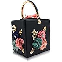 Milisente Women Clutches Flower Clutch Bag Box Clutch Purse Evening Handbag