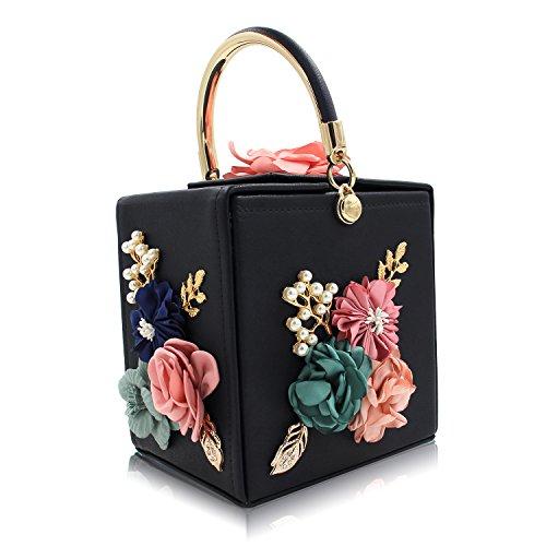 Milisente Women Clutches Flower Clutch Bag Box Clutch Purse Evening Handbag (Black) (Purse Box)