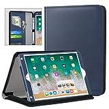 MoKo Case for Apple iPad 9.7 Inch 2018/2017(iPad5/iPad6)/iPad Air/iPad Air 2 Tablet, Genuine Executive Portfolio Case Slim Folding Stand Cover with Document Card Slots, Indigo