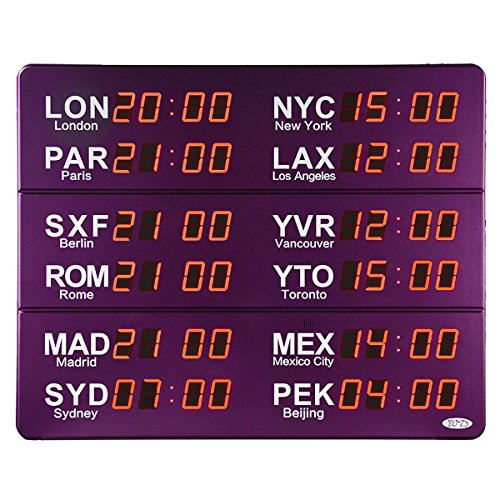 Multi Time Zone Clock (12 cities LED World Time Wall Clock Monitor-306K (Purple))