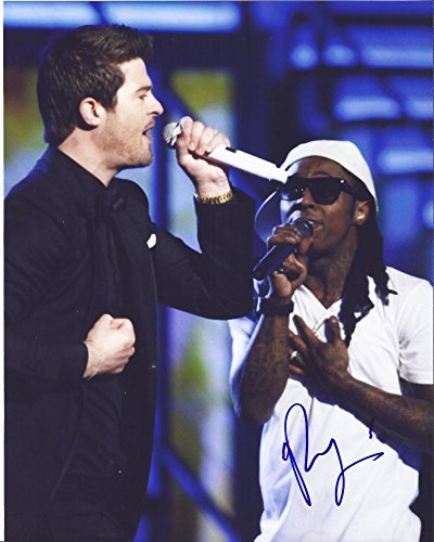Robin Thicke Autographed Hand Signed 8x10 Photo Featuring Lil Wayne with Proof Photo, Blurred Lines, Love After War, The Evolution of Robin Thicke, COA