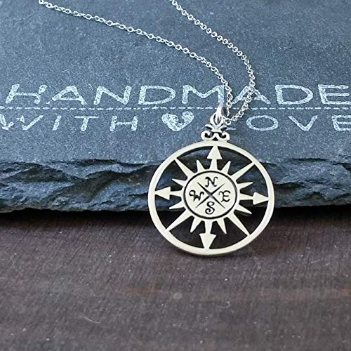 Sterling Silver Compass Rose Pendant Necklace, 20""