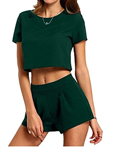 70bcc26885bc Haola Women's Summer Short Sleeve Tops with Loose Shorts Suits Outfits Sets  S ArmyGreen