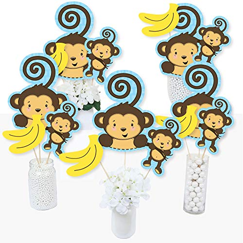 Monkey Baby Shower Centerpieces (Blue Monkey Boy - Baby Shower or Birthday Party Centerpiece Sticks - Table Toppers - Set of)