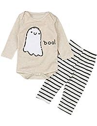 Baby Girl Boy Halloween Outfit Ghost Print Romper Onesie...