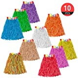 ASIBT 10pc/lot Different Colors Hawaiian Adult Luau Flowered Grass Skirt, 23 inch Long Hula Skirt