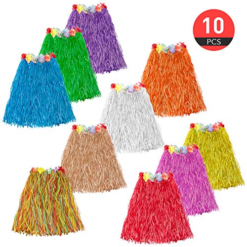ASIBT 10pc/lot Different Colors Hawaiian Adult Luau Flowered Grass Skirt, 23 inch Long Hula Skirt]()