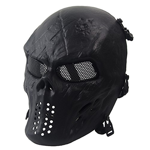 Annay Airsoft Mask Full Face Masks Skull Skeleton with Metal Mesh Eye Protection Army Tactical Mask for Halloween Airsoft BB Paintball Gun CS Game Cosplay and Masquerade Party Black -