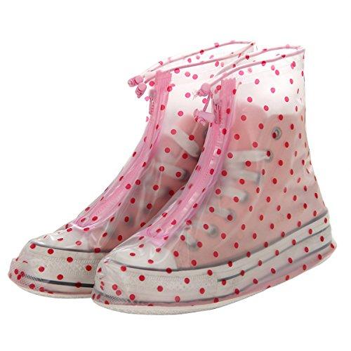 Polka Dot L Reusable Waterproof Guard Slip-resistant Women Girls Shoes Cover
