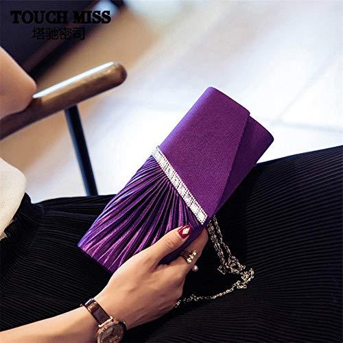 Bag Wedding Twill Purse Women's Clutch Events Prom Crossbody Rhinestone Handbag Purple Inlaid Fancy for Evening Navigatee Party Party 8vqwY1q7