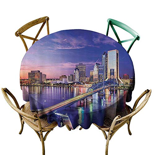 (Waterproof Table Cover Apartment Decor Collection Jacksonville Florida USA Architecture Business District Cityscape Evening Scene Image Party Decorations Table Cover Cloth 35 INCH Navy)