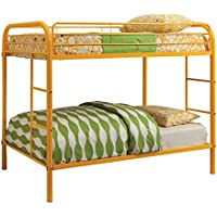Furniture of America Non-Recycled Metal Bunk Bed, Twin Over Twin, Orange