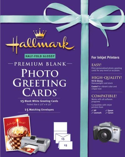 Hallmark Half-Fold Glossy Premium Photo Greeting Cards – 15 count