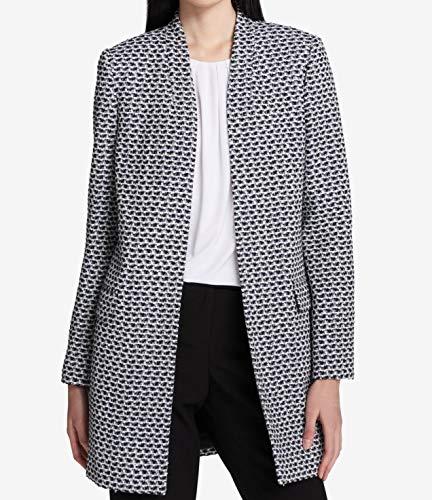 - Calvin Klein Womens Petites Boucle Tweed Metallic Jacket B/W 6P