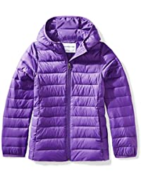 Girls' Lightweight Water-Resistant Packable Hooded Puffer...