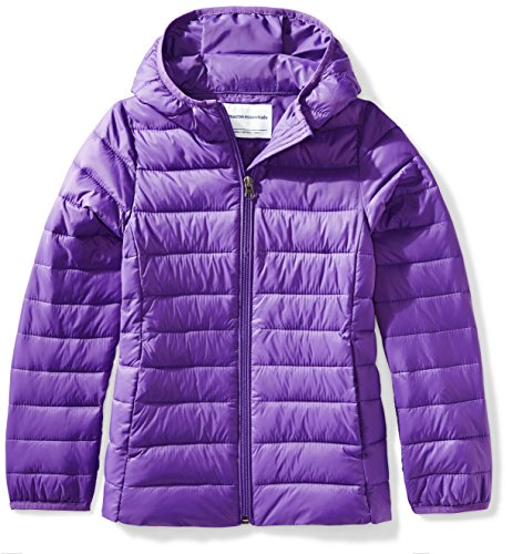 Nylon Winter Coat - Amazon Essentials Girls' Lightweight Water-Resistant Packable Hooded Puffer Jacket, Dark Purple, Large