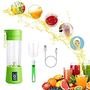 JAFIC USB Juicer Cup, Portable Personal Size Eletric Rechargeable Mixer USB Juice Blender 380ml Six Blades in 3D for Superb mixing [Upgraded Version]