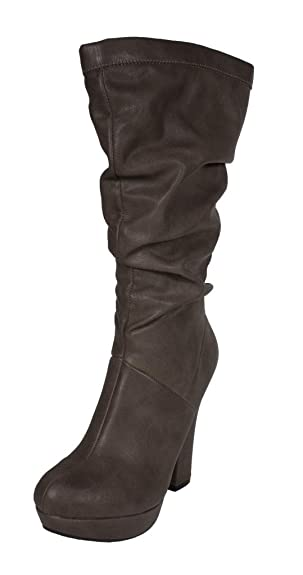 Swept! By Delicious Slouchy Platform Chunky High Heel Boot with Side Zipper in Stone Leatherette