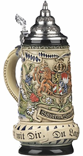 German Beer Stein Rustic Bavaria Stein, State Coat of Arms in centre panel, flanked by views of Munich and Neuschwanstein Castle, State Motto translated: God with you, Land of the Bavarians 0.5 liter tankard, beer mug by ISDD Cuckoo Clocks