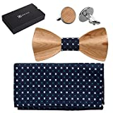 808 Ave. Men's Walnut Wood Bow Tie, Pocket Square, and Cufflinks Set - Waves