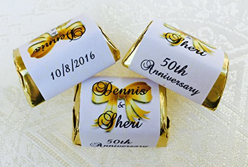 - 300 Personalized WEDDING ANNIVERSARY Themed CANDY WRAPPERS/Stickers/Labels (Make your own event or party favors using your HERSHEY NUGGET CHOCOLATES)