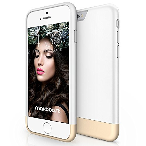 iPhone 6 Plus Case, Maxboost [Vibrance Series] for Apple iPhone 6 Plus Case (5.5) (2014) Protective Hard Cover- White/Champagne Gold