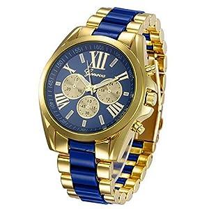 WriskyMen Stunning Geneva Stainless Steel Roman Numerals Quartz Analog Wrist Watch