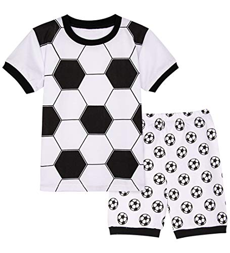 A&J DESIGN Toddler Boys Soccer Pajamas 2 Piece Short Set (2T, Soccer-1)