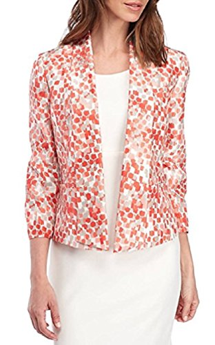 Kasper Women's Plus Printed Shantung Jacket, Watermelon Multi (14W) Shantung Shawl