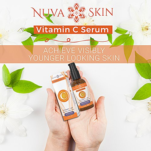 51u7uk3smRL - Nuva Skin Vitamin C Serum for Face and Eyes w/Hyaluronic Acid & Liquid Vitamin E - Natural Anti Aging, Anti Wrinkle Facial Treatment - Antioxidant Moisturizer for Acne, Scars & Even Skin Tone