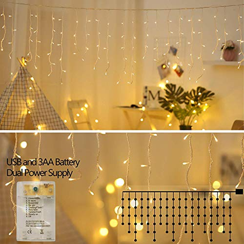 XDlight 10 ft 90 LED Icicle Lights,Window Curtain Lights with 8 Modes Powerd by Battery and USB,Waterproof Fairy String Light for Indoor & Outdoor,Holiday,Party,Curtain with White Wire(Warm White) ()