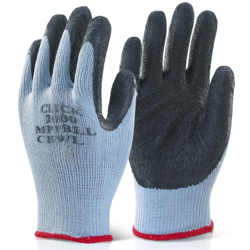 Pack of 10 Black Scaffolders Builders Gardening Rubber Latex Work Gloves XL - Comes With TCH Anti-Bacterial Pen! The Chemical Hut