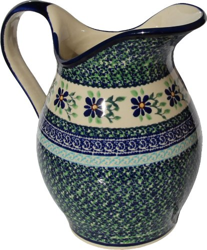 Polish Pottery Pitcher 1.8 Qt. From Zaklady Ceramiczne Boleslawiec #1160-du121 Unikat Pattern, Height: 7.9