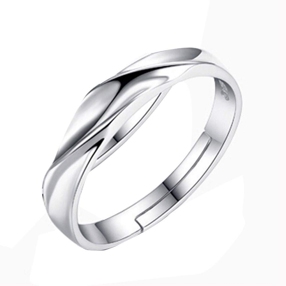Fashion 925 Silver Ring Water Ripple Men And Women Wedding Gift Adjustable 7