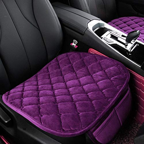 DEALPEAK Anti Slip Car Seat Cushion Cover Pad Mat Lattice Pattern Auto Chair Cushion with Velvet Elastic Plush for Auto Car Supplies (Color : Purple)